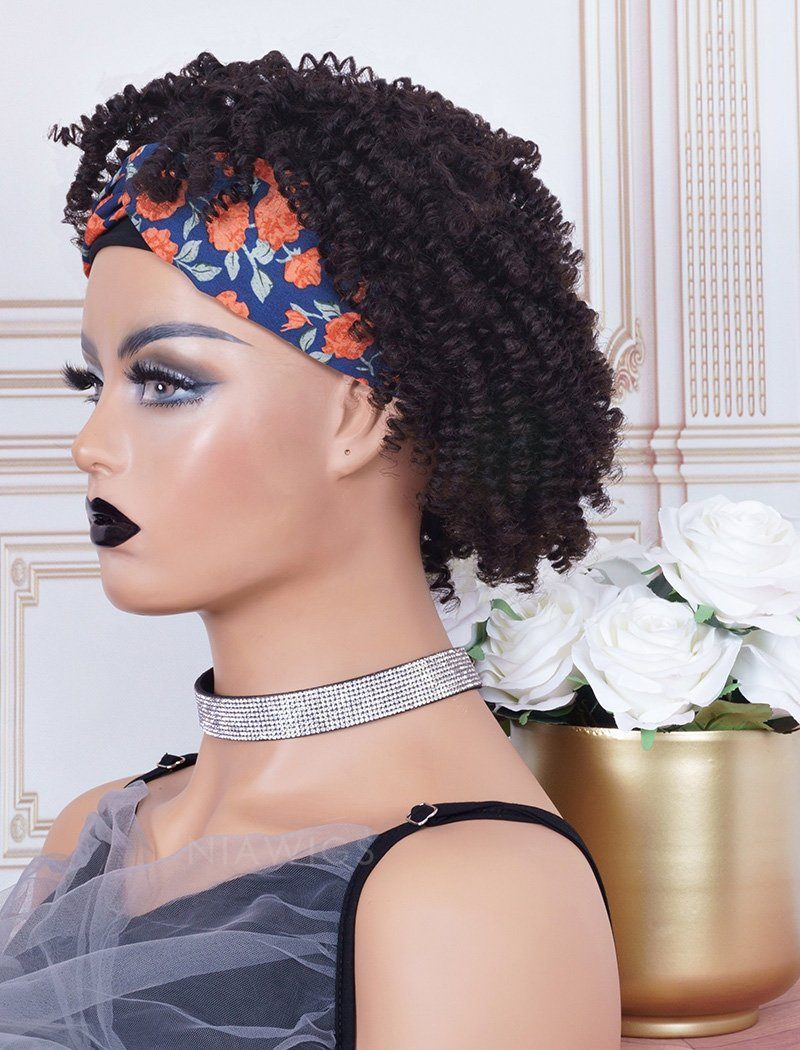 Headband Wig 4C Kinky Curls Human Hair Wigs (WITH ONE FREE TRENDY HEADBAND)
