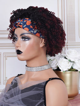 #1b/99J Head Band Wig Human Hair 4C Kinky Curly Machine Made Wigs