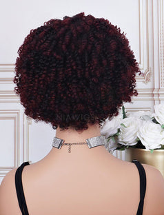 Load image into Gallery viewer, #1b/99J Head Band Wig Human Hair 4C Kinky Curly Machine Made Wigs