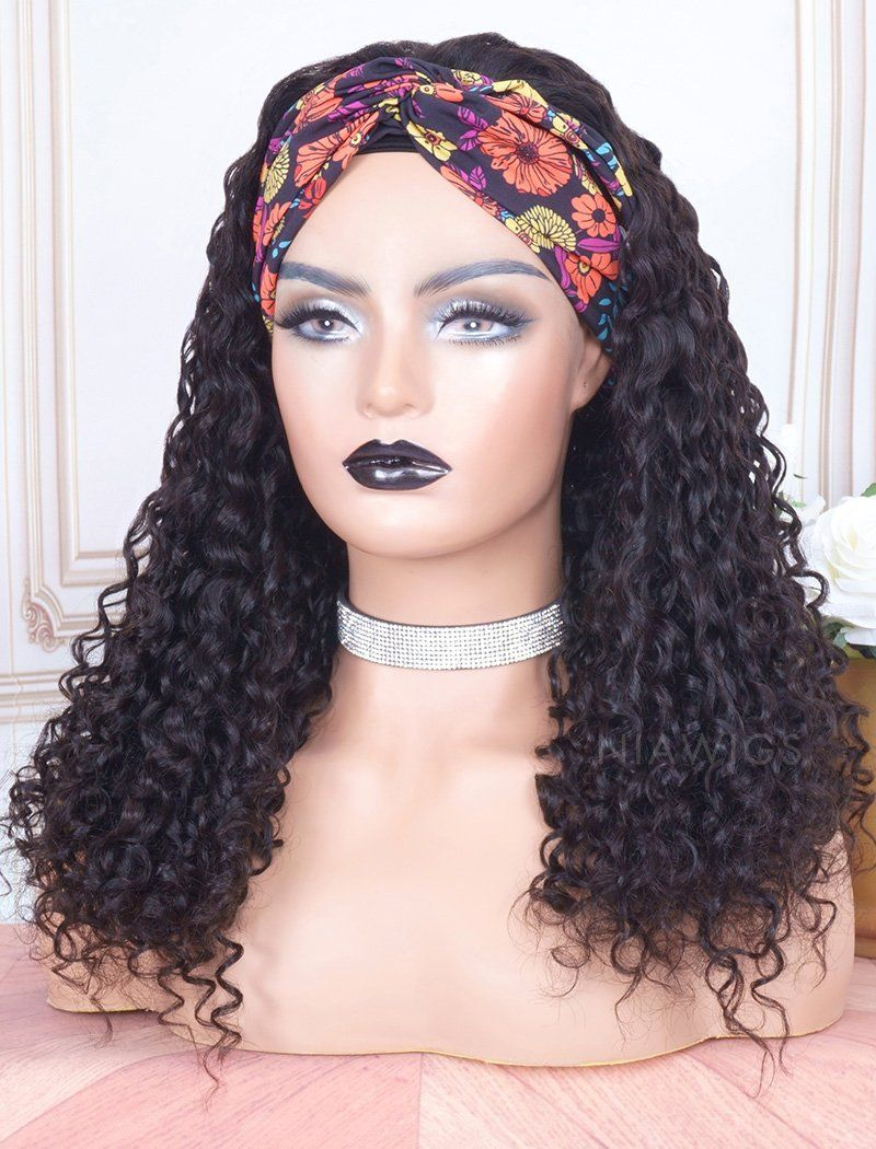 Load image into Gallery viewer, 2020 Best Selling Head Band Wig Curly Human Hair Machine Made Wigs