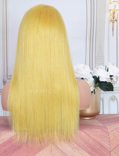 Load image into Gallery viewer, Lemon Yellow Head Band Wig Human Hair Machine Made Wigs