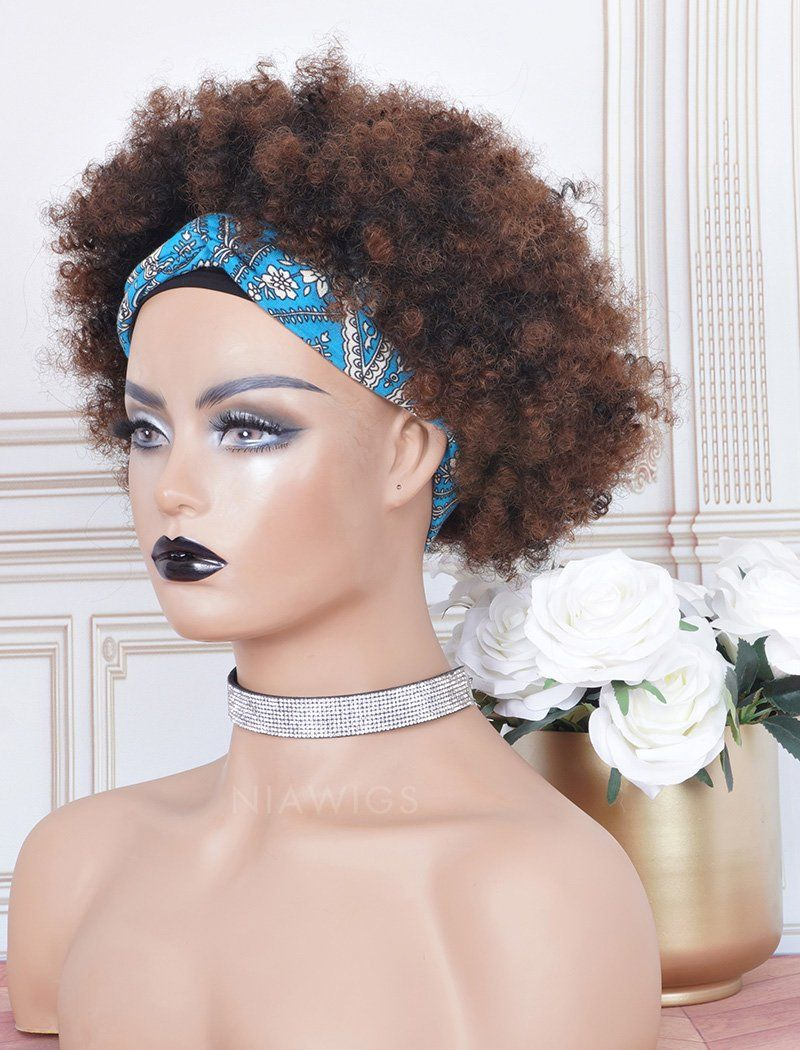 #1b/33 Headband Wig Human Hair 3A Kinky Curly Wigs (WITH ONE FREE TRENDY HEADBAND)