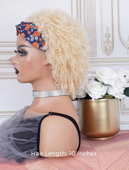 Afro Kinky Curls #613 Blonde Head Band Wig Human Hair Machine Made Wigs