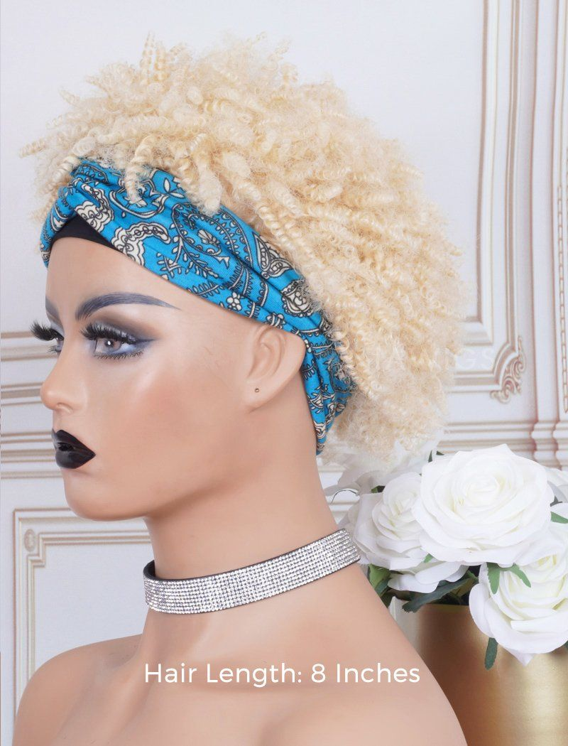 Load image into Gallery viewer, Afro Kinky Curls #613 Blonde Head Band Wig Human Hair Machine Made Wigs
