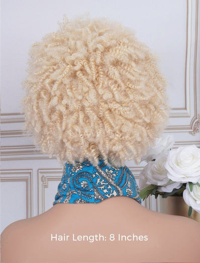 Afro Kinky Curls #613 Blonde Headband Wig Human Hair Machine Made Wigs