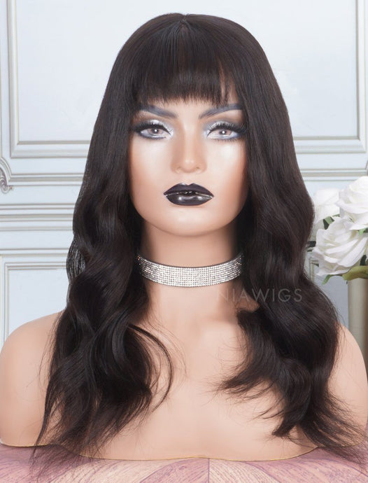 Natural Wavy With Bangs Human Hair Skin Base Lace Front Wigs