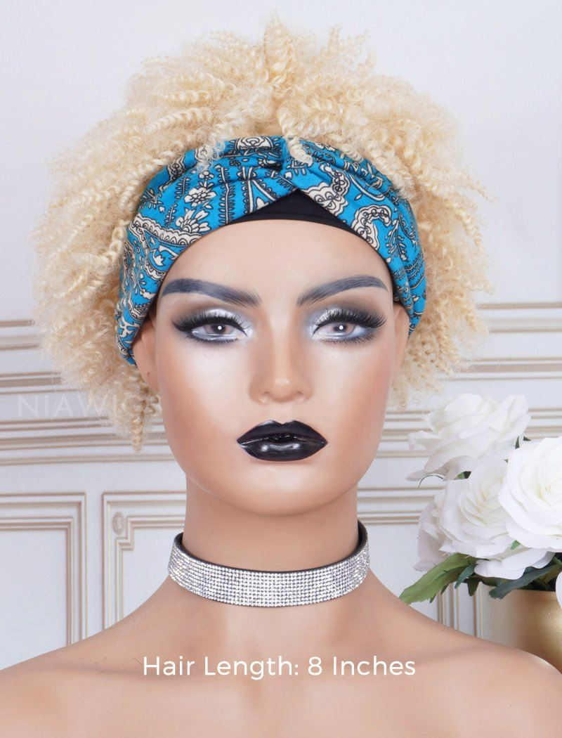 Load image into Gallery viewer, Afro Kinky Curls #613 Blonde Headband Wig Human Hair Machine Made Wigs