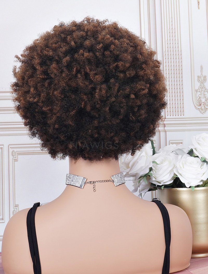 Load image into Gallery viewer, #1b/30 Head Band Wig Human Hair 3A Kinky Curly Machine Made Wigs