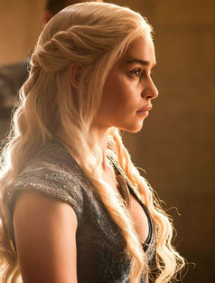 Load image into Gallery viewer, Emilia Clarke Inspired 22 Inches Remy Hair Platinum Blonde Celebrity Wigs