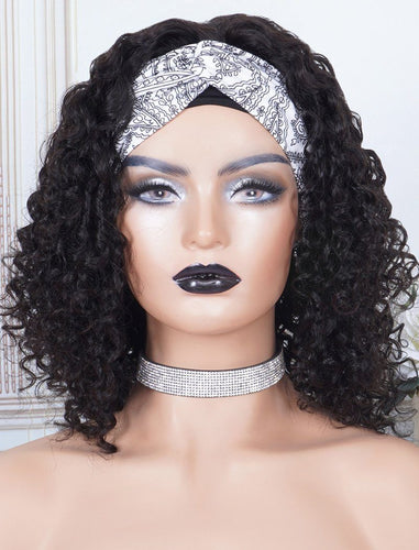 Head Band Wig Curly Human Hair Machine Made Wigs