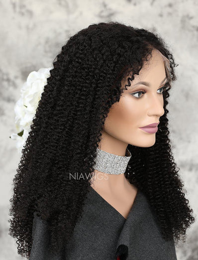 New Arrival Curly Human Hair Glueless Full Stretchable Wigs Middle Parting