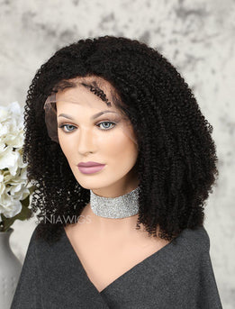 Kinky Curly Human Hair Glueless Full Lace Wigs Free Parting For African American