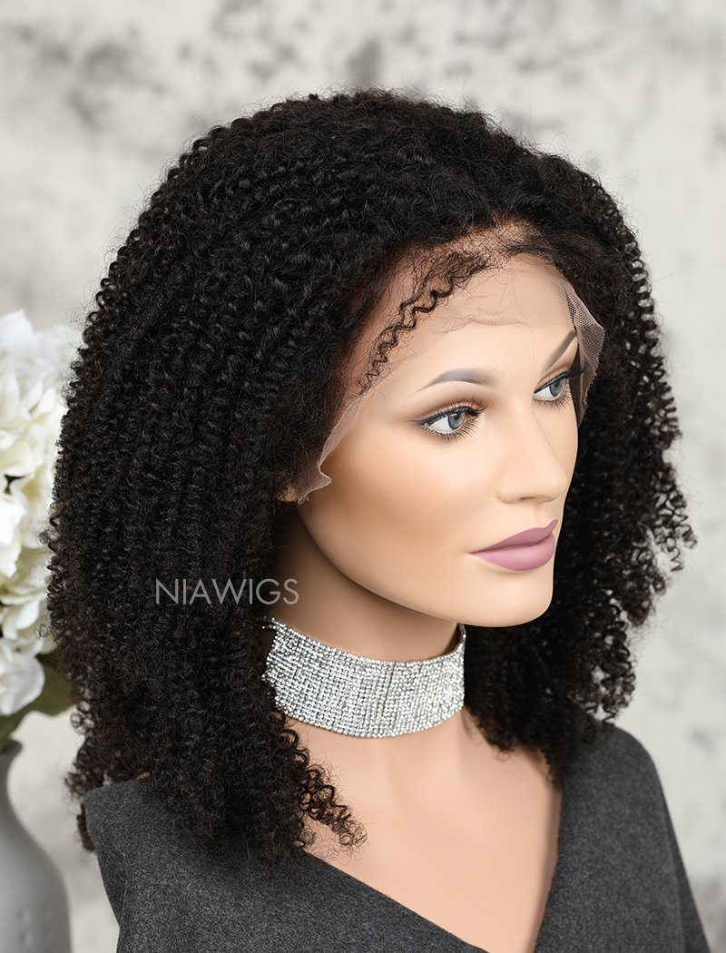 Load image into Gallery viewer, Kinky Curly Human Hair Glueless Full Stretchable Wigs Free Parting For African American