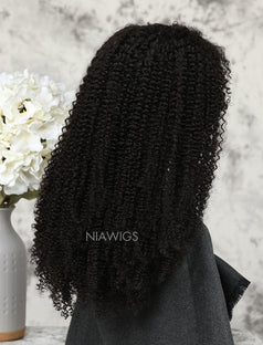 Load image into Gallery viewer, Afro Kinky Curly Stock Wig Natural Color Human Hair Machine Made Wigs