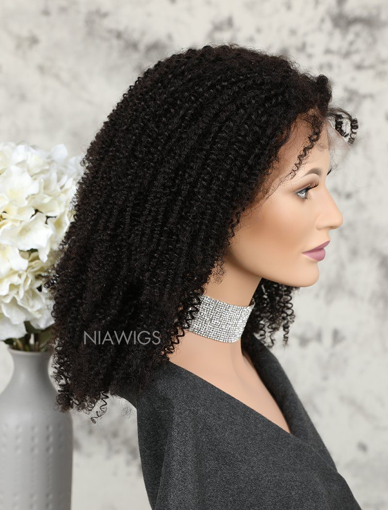 Load image into Gallery viewer, Kinky Curly Human Hair Lace Front Wigs Free Parting For African American