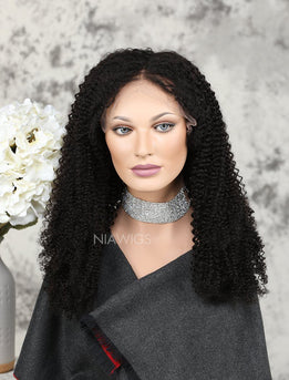 New Arrival Curly Human Hair Glueless Full Lace Wigs Middle Parting