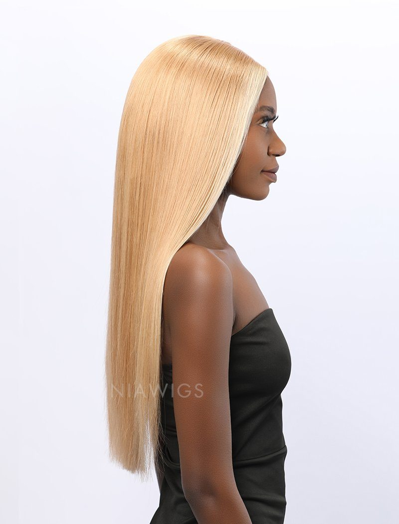 Load image into Gallery viewer, Stephanie | Remy Hair 20 Inches Lace Front Wig #613 Honey Blonde Highlight #12 Shade Base