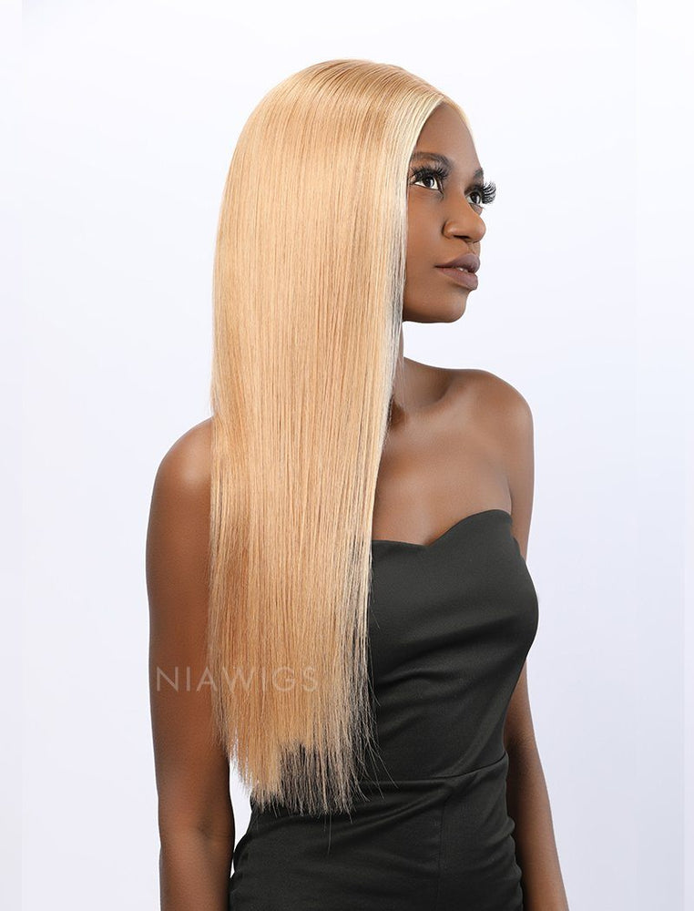 Stephanie | Remy Hair 20 Inches Lace Front Wig #613 Honey Blonde Highlight #12 Shade Base