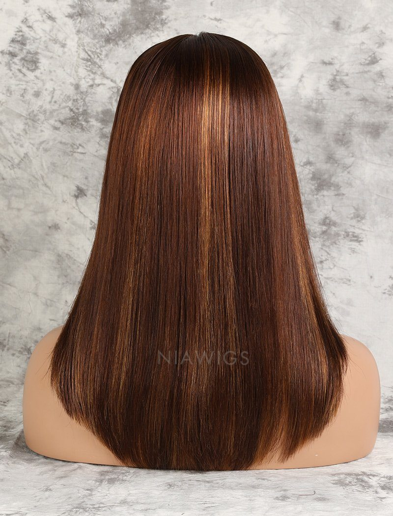 Load image into Gallery viewer, Kristen||Remy Hair 16 Inches Lace Front Wig #Brown/#30 Highlights