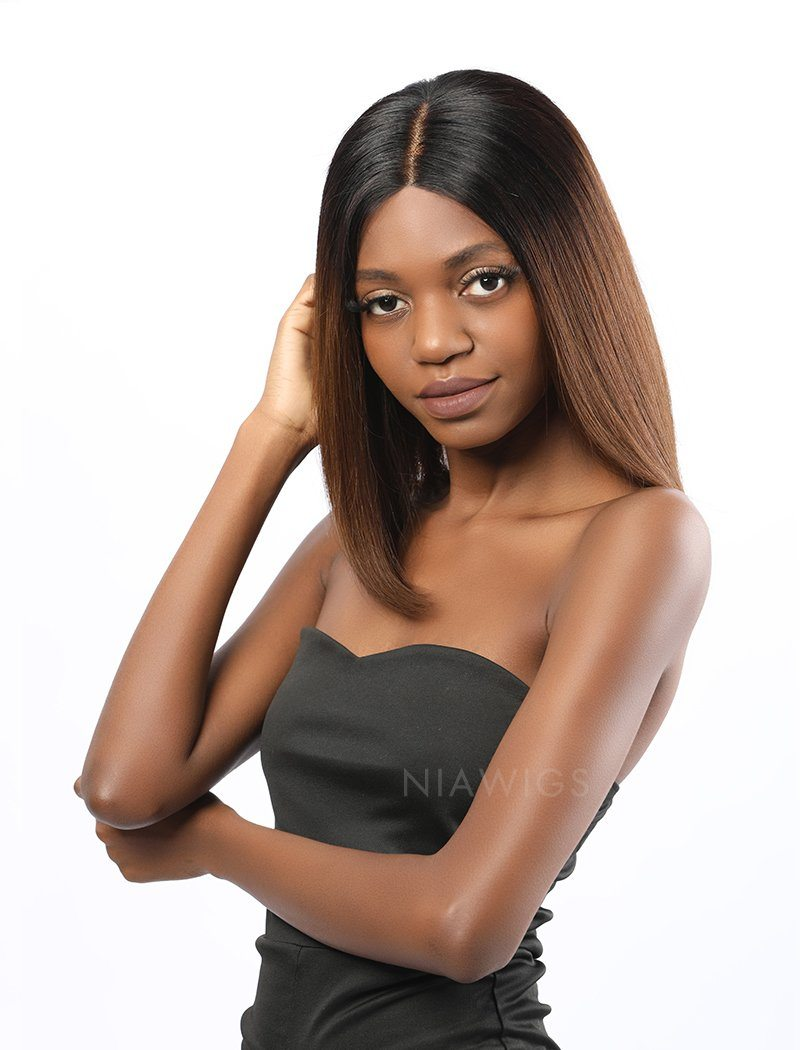 Load image into Gallery viewer, Tina | Remy Hair 12 Inches Lace Front Wig Ombre 1B/4