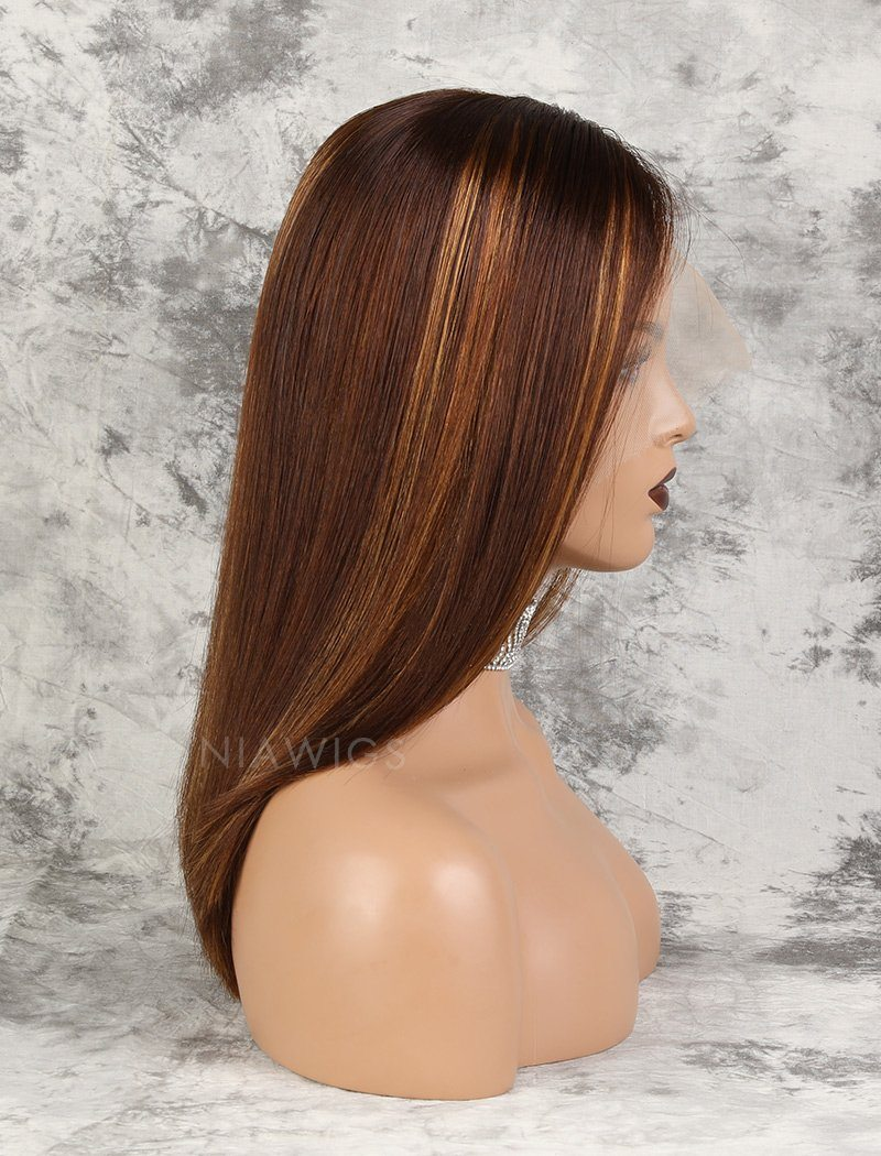 Kristen Remy Hair 16 Inches Lace Front Wig #Brown/#30 Highlights