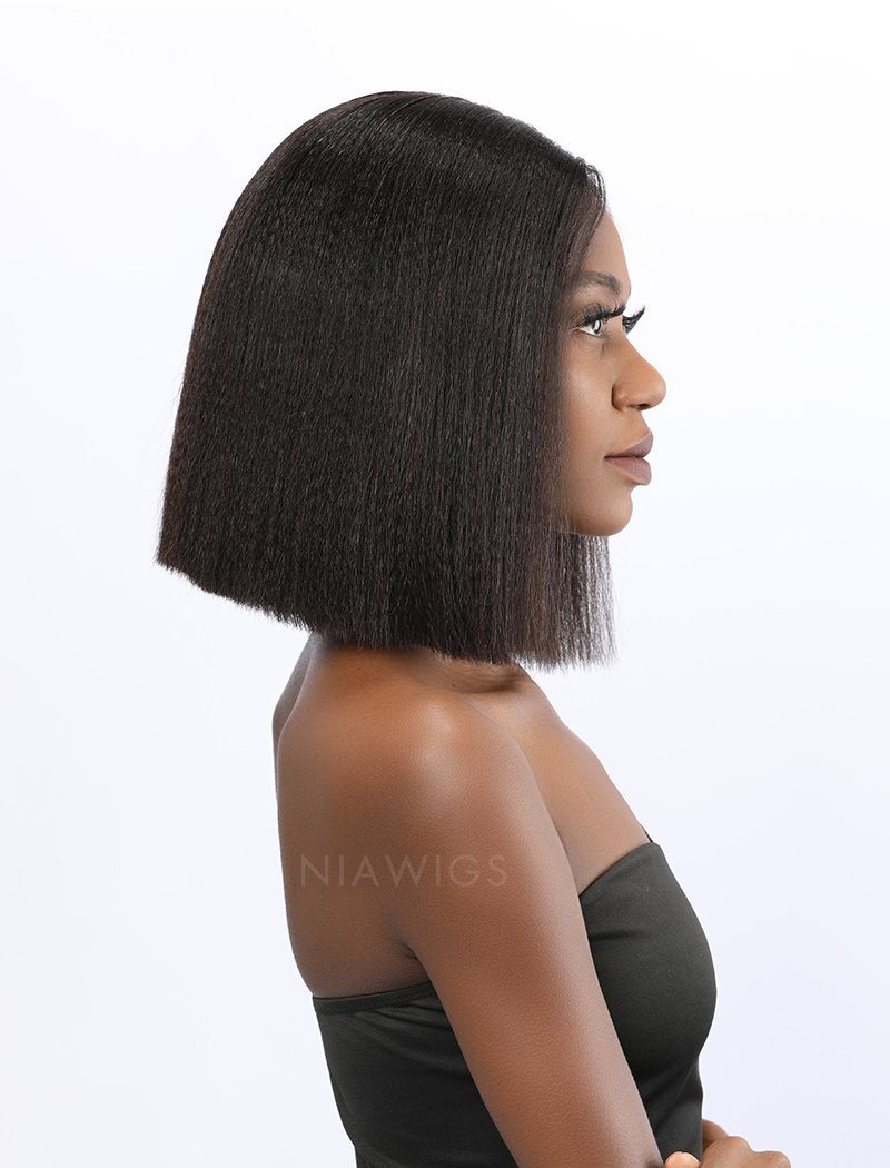 Fiona Remy Hair 12 Inches Lace Front Wig Yaki Bob