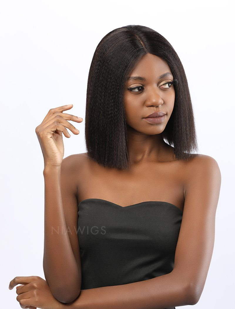 Load image into Gallery viewer, Fiona||Remy Hair 12 Inches Lace Front Wig Yaki Bob