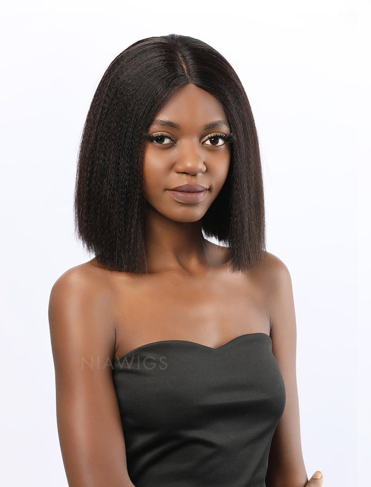 Fiona | Remy Hair 12 Inches Lace Front Wig Yaki Bob