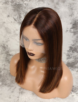 Kristen | Remy Hair 16 Inches Lace Front Wig #Brown/#30 Highlights