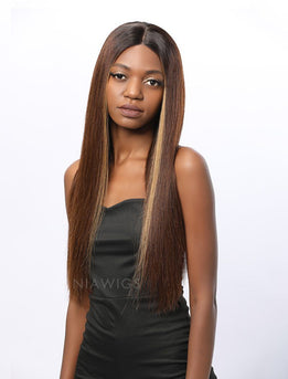 Joanna||Remy Hair 18 Inches Lace Front Wig Highlight