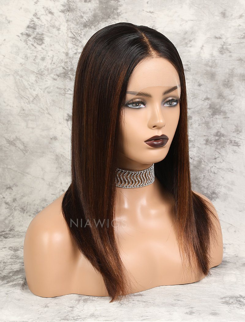 Load image into Gallery viewer, Marissa | HD Lace Virgin Hair 16 Inches Lace Front Wig Balayage(#1BT4H30 )