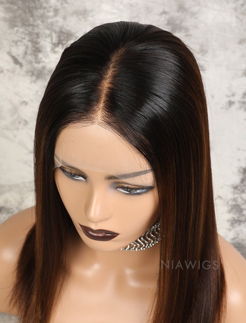 Marissa HD Lace Virgin Hair 16 Inches Lace Front Wig Balayage(#1BT4H30 )