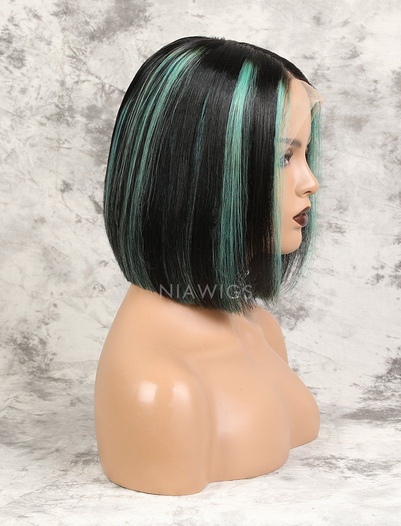 Load image into Gallery viewer, Amana | Virgin Hair 10 Inches Lace Front Wig #1B Black Shade Base #Mint Green Mixed