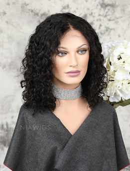 Fashion Bob Glueless Full Lace Wigs Human Hair Curly Bob Wig