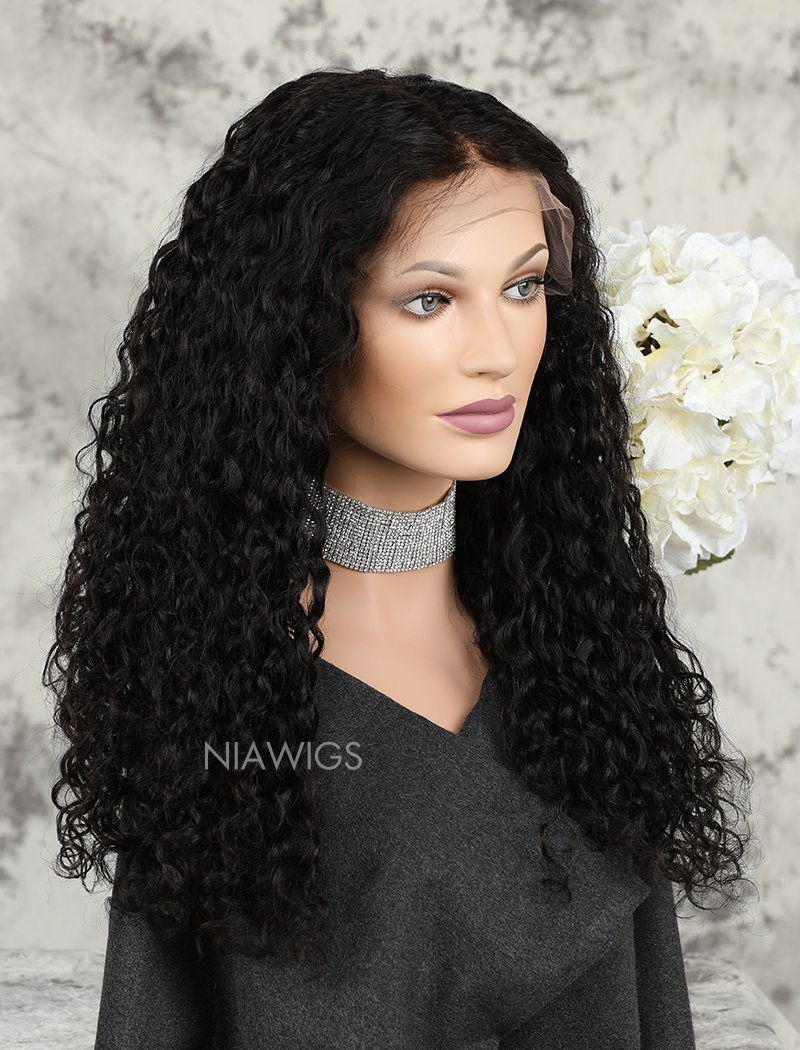 Load image into Gallery viewer, Loose Curly Brazilian Human Hair Glueless Full Stretchable Wigs