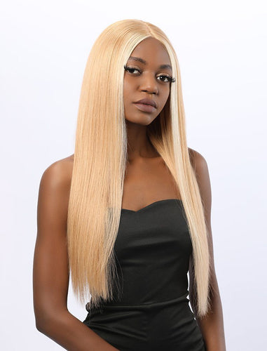 Stephanie||Remy Hair 20 Inches Lace Front Wig #613 Honey Blonde Highlight #12 Shade Base