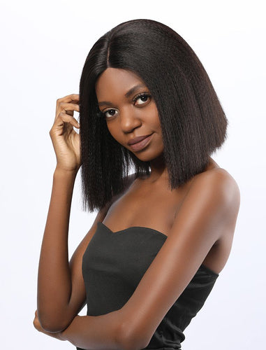 Kiro | Virgin Hair 12 Inches Lace Front Wig Yaki Bob
