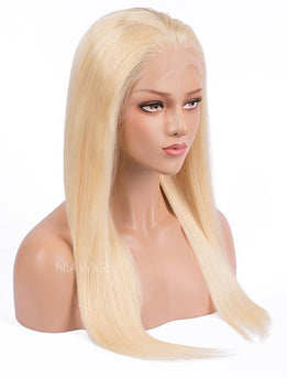 #613 Blonde Silky Straight Human Hair Lace Front Wigs