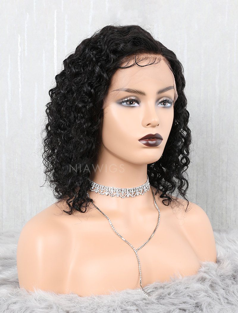 Curly Human Hair Lace Front Wigs Free Parting With Removeable Bands