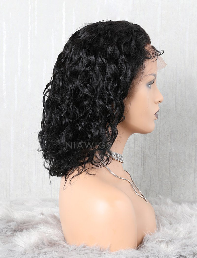 Wavy Bob Human Hair Lace Front Wigs Free Parting With Removeable Bands