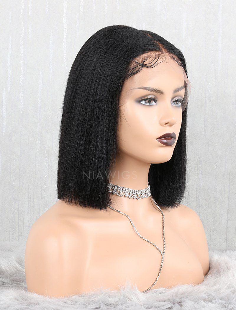 Yaki Straight Bob Human Hair Glueless Full Stretchable Wigs With Removeable Bands