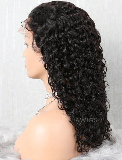 Natural Wave Human Hair Glueless Full Stretchable Wigs Free Parting With Baby Hair