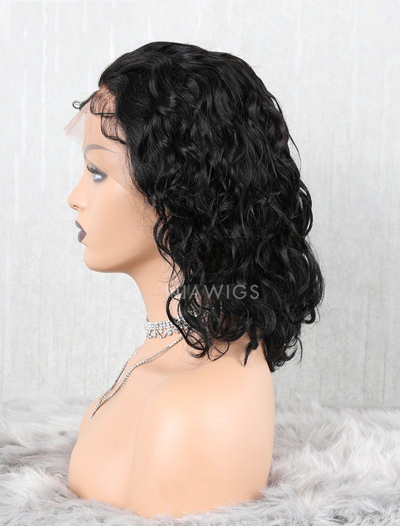 Load image into Gallery viewer, Wavy Bob Human Hair Lace Front Wigs Free Parting With Removeable Bands