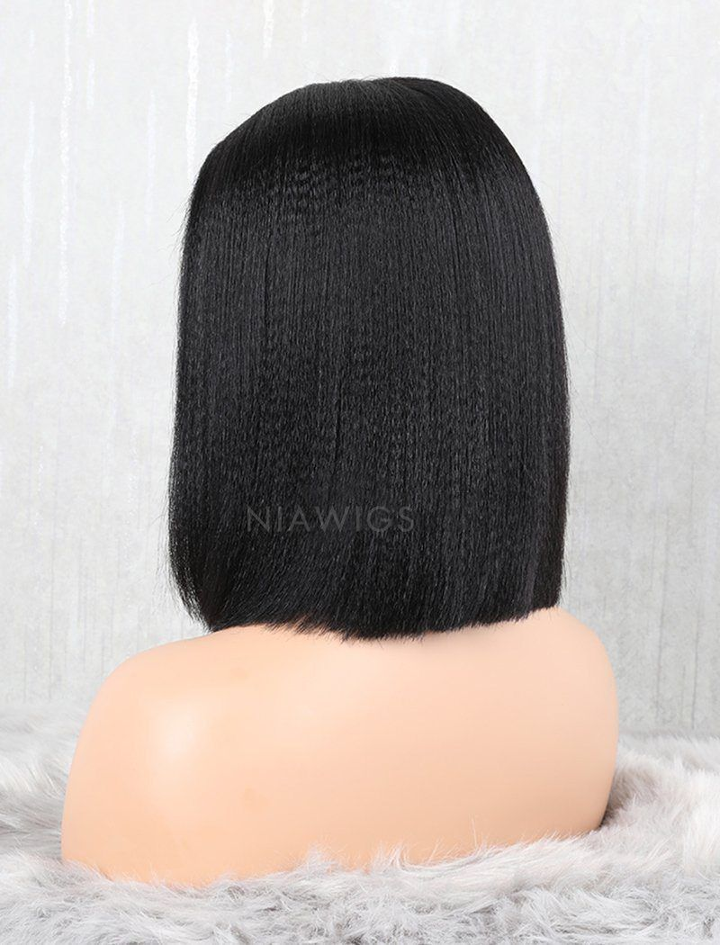 Load image into Gallery viewer, Yaki Straight Bob Human Hair Glueless Full Stretchable Wigs With Removeable Bands