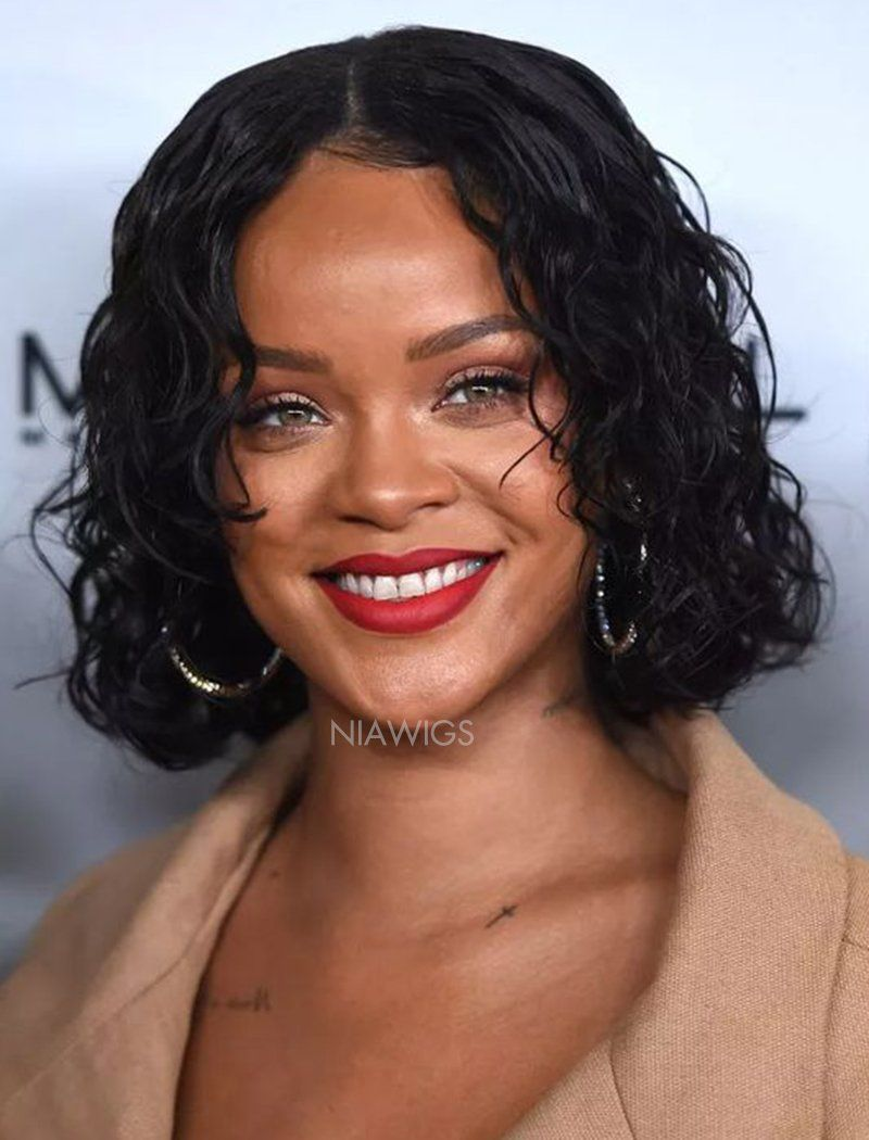 Load image into Gallery viewer, Rihanna Inspired Celebrity Wigs 12 Inches Curly Bob Virgin Hair Lace Front Instock Wig
