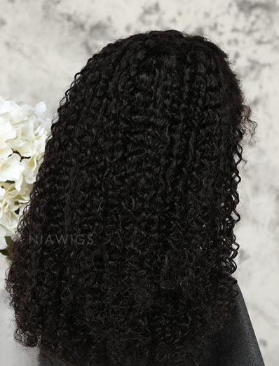 Tight Curls Human Hair Glueless Full Lace Wigs With Preplucked Natural Hairline