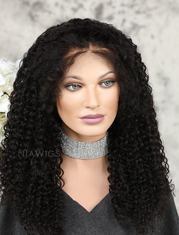 Tight Curls Human Hair Lace Front Wigs With Preplucked Natural Hairline
