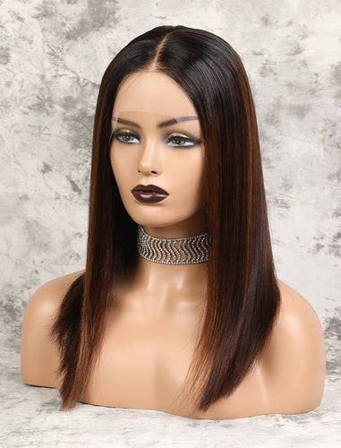 Marissa | HD Lace Virgin Hair 16 Inches Lace Front Wig Balayage(#1BT4H30 )