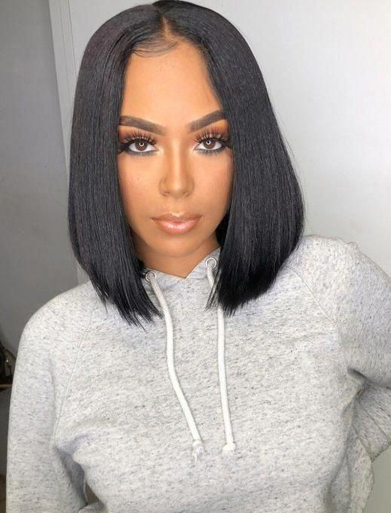 Yaki Straight Bob Human Hair Glueless Full Tied Wigs With Removeable Bands
