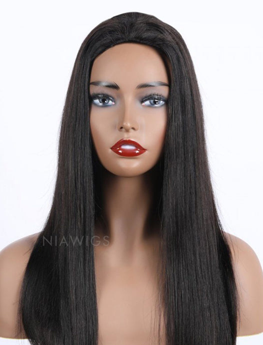 Silky Straight Human Hair 150% Density Stock Wig 3/4 Half Machine Made Wigs